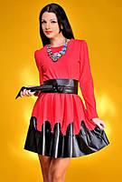 """Стильное женское платье средней длины """"Волны Кожа"""" в расцветках"""