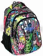 """Рюкзак молодежный 16"""" Graffiti, ортопедическая спинка  CF85676"""