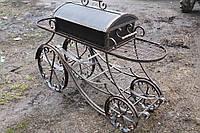 Мангал передвижной на колесах, с крышкой