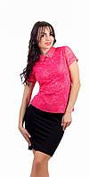 Женская гипюровая блузка розовая
