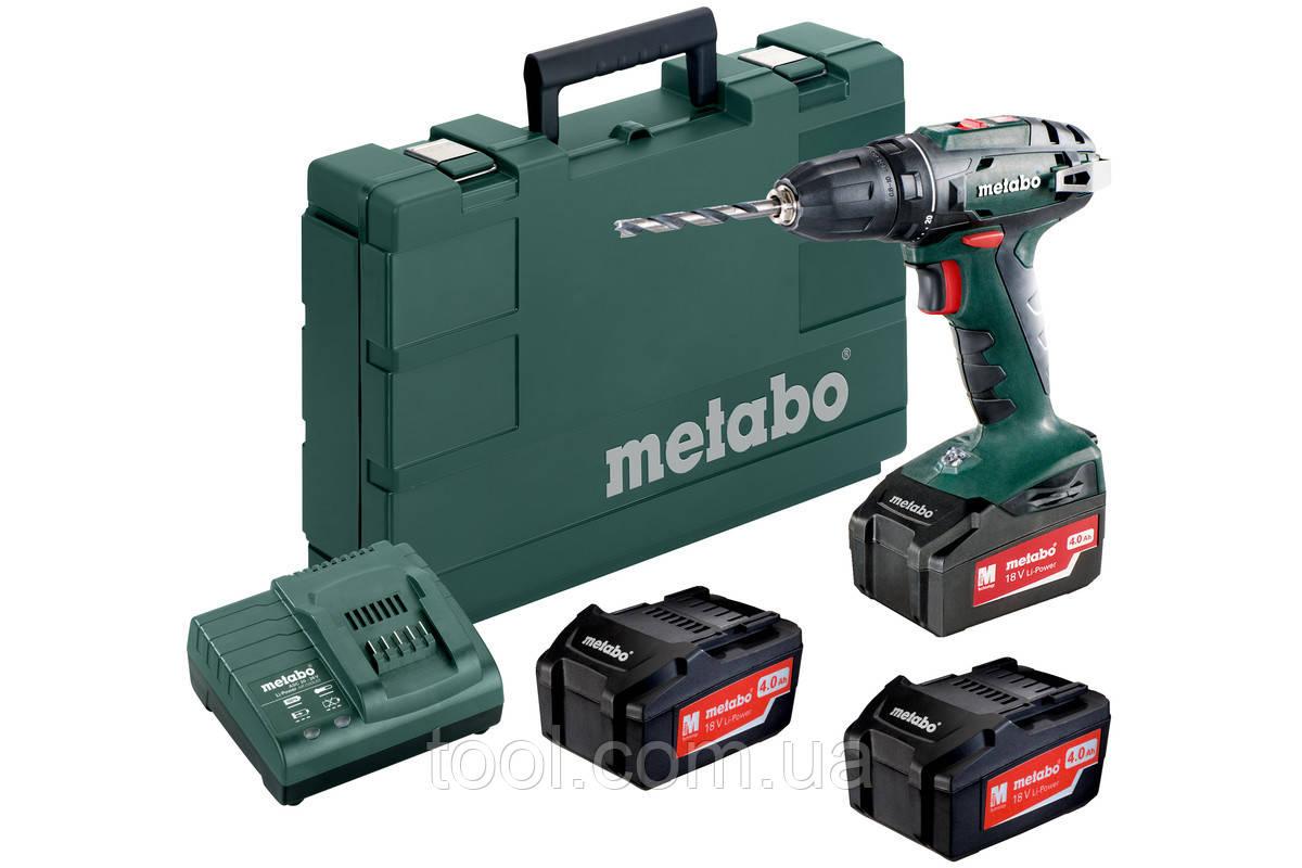 Metabo BS 18 Set (набір) Аку. Дриль-шуруповерт 18В, 3xLi-PowerExtreme 4.0Аг, патрон 13 мм, LED підсвітка, біто