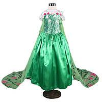 Зеленое платье Эльзы с шлейфом для девочек 5-8 лет