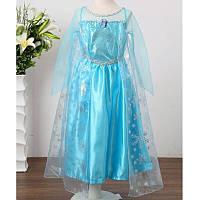Голубое платье Эльзы с накидкой для девочек 3-6 лет