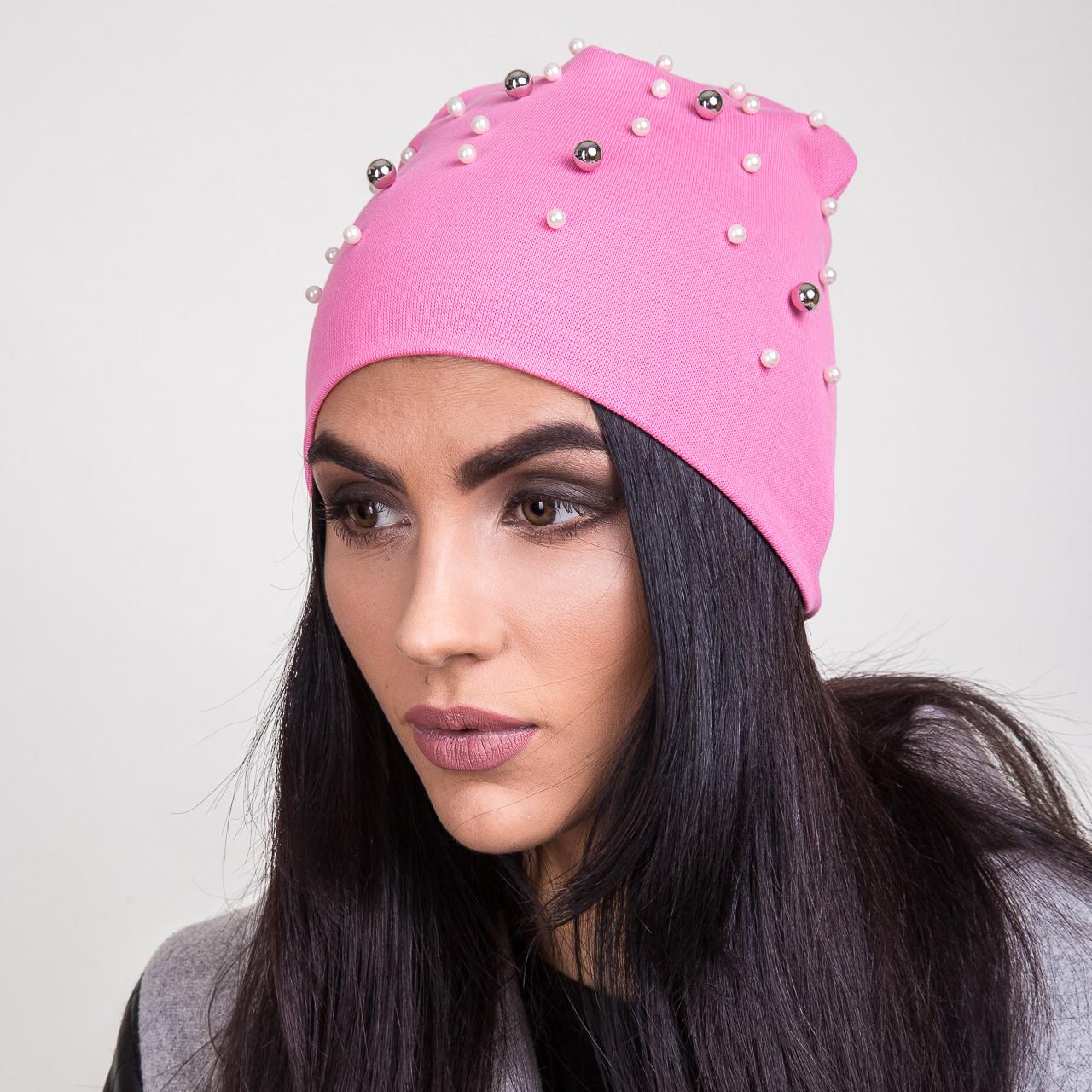 Женская шапка с бусинками на весну 2018 оптом - Артикул 2056, фото 2