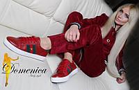 """Женски модные красные кроссовки из натуральной кожи """"Gucci"""""""