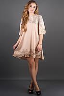 Оригинальное платье Айви р.44-52 бежевый