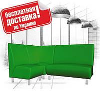Угловой диван (комплект мягкой мебели) из кожзама для кафе, офиса зеленый, фото 1