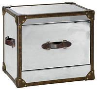 Столик кофейный Industrial leather side table AVT04. Металл алюминий. Столик в стиле Лофт. Ручная работа. Сделано в Индии.
