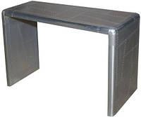 Стол консольный Avaitor console table AVT21. Цвет алюминий, натуральное дерево и металл алюминий. Тумба в стиле Лофт. Ручная работа. Сделано в Индии.