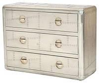 Комод Aviator cabinet AVT26. Цвет алюминий, натуральное дерево и металл алюминий. Тумба в стиле Лофт. Ручная р