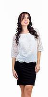 Женская блузка крестьянка гипюровая белая