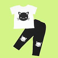 Стильный летний комплект для девочки из футболки и лосин с милым рисунком кошечки 122см