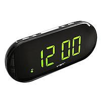 Электронные настольные часы 717-2, будильник, резервное питание, LED дисплей, зеленый циферблат
