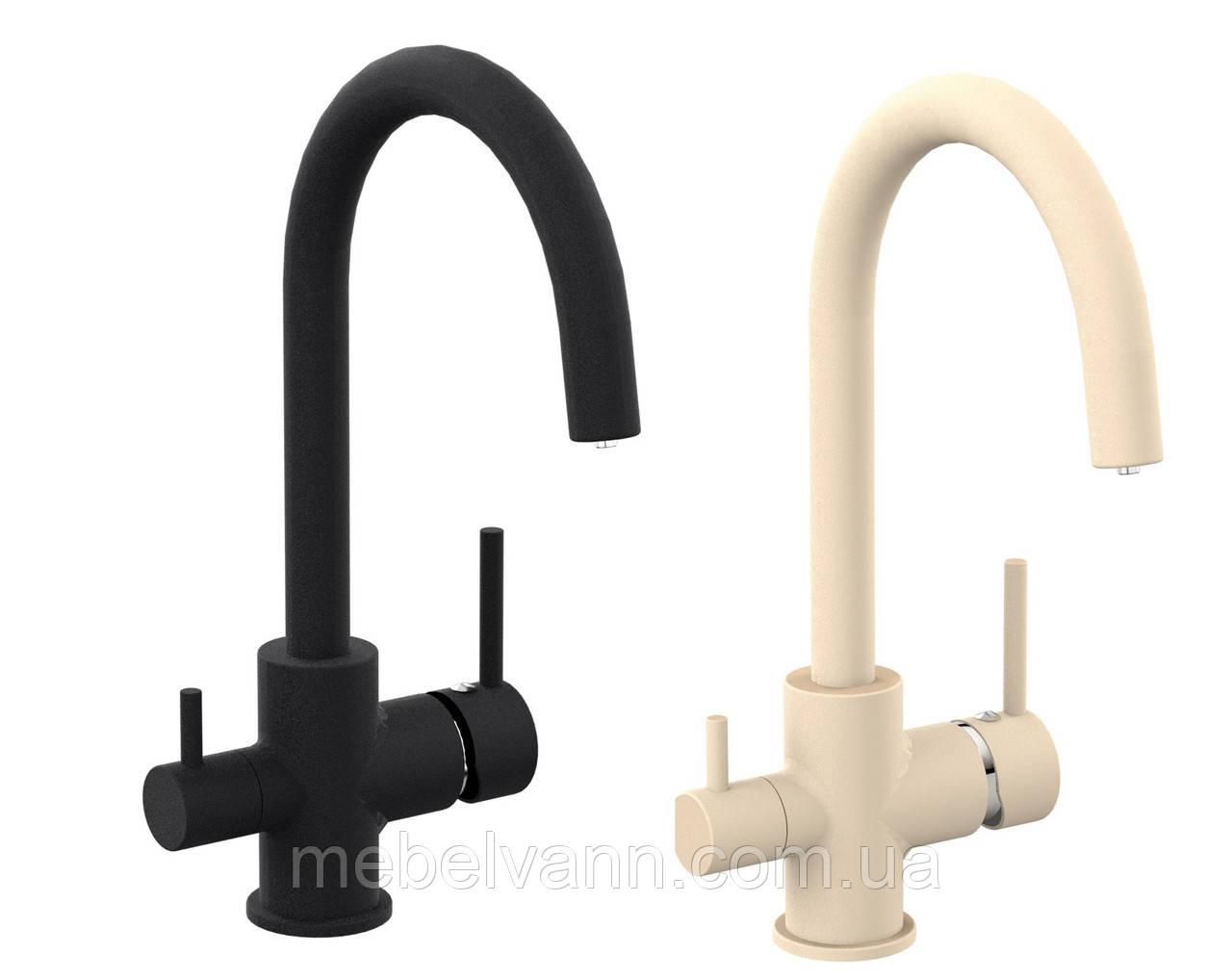 DAICY смеситель для кухни на две воды, черный/песочный, IMPRESE 55009-UB
