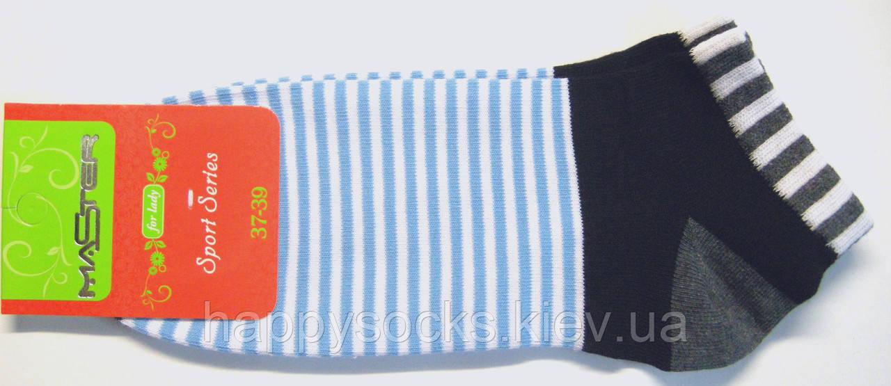 Разноцветные низкие носки в яркую полоску женские