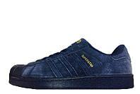 Кроссовки мужские Adidas Superstar Suede Navy (в стиле адидас) синие