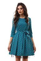 Голубое платье джинс с фатиновым подъюбником и поясом. Арт-1108/16