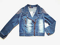 Джинсовая куртка пиджак косуха рост 134-158  для девочки 6-14 лет, фото 1