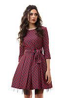 Красное платье джинс с фатиновым подъюбником и поясом. Арт-1108/16