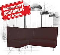 Угловой диван (комплект мягкой мебели) из кожзама для кафе, офиса черный, фото 1