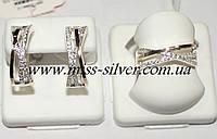 Комплект серебро с золотыми вставками Марсель