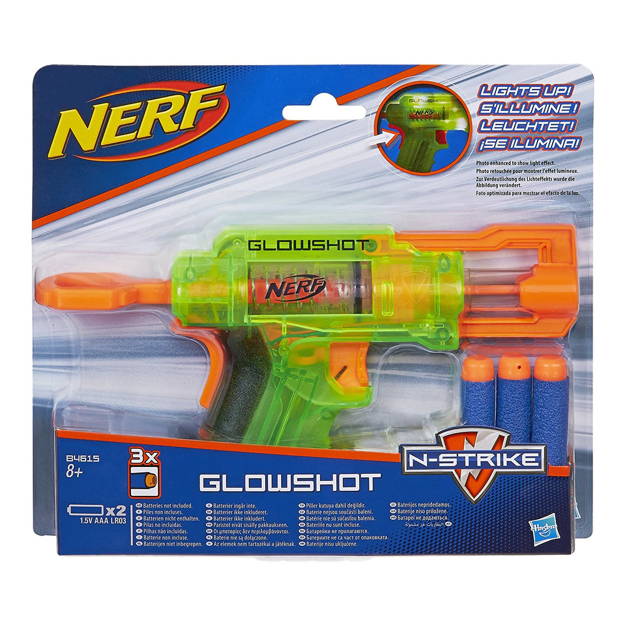 Бластер Nerf в наборе с тремя патронами светящийся от Hasbro / GlowShot Blaster