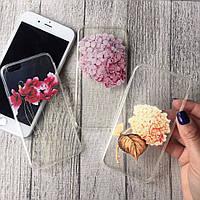 Силиконовые чехлы с цветочным принтом для iPhone 7 Plus