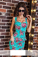 Женский костюм коротка юбка и блуза с баской  джинс коттон в цветы Размеры 42, 44, 46