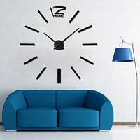 3D-Часы 100 см Палочки черные Настенные часы наклейки в офис знатного диаметра 3Д-эффект [Пластик]+Подарок