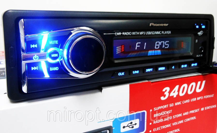 Автомагнитола Pioneer 3400U Usb+Sd+Fm+Aux+ пульт