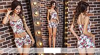 Женский костюм топ на бретелях и шорты джинс коттон в цветы Размеры 42, 44, 46