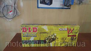 Мотоцепь 530 DID 530VX 118 для мотоцикла чорно-золота кількість ланок 118 сальники X-Ring, фото 2