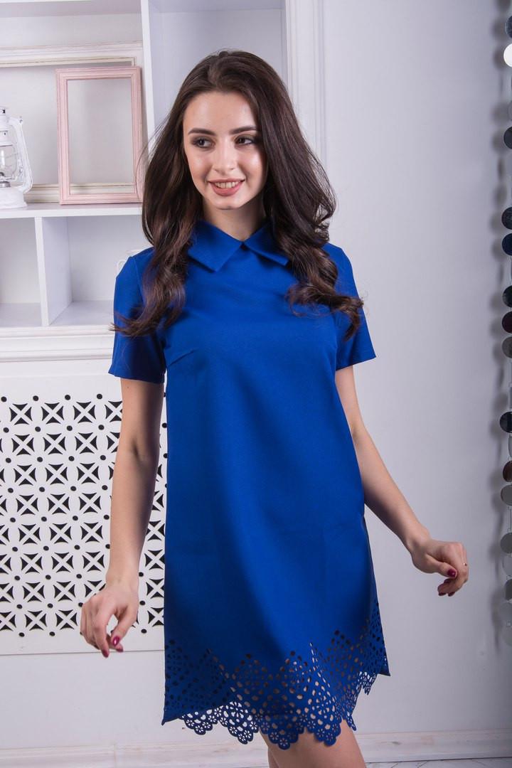 """Синее платье с воротником  """"Нежность"""""""