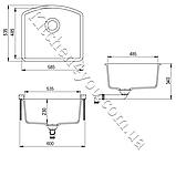 Прямоугольная гранитная мойка 585х535 мм. Aquasanita (Литва) Arca SQA-103, монтаж под или в столешницу, фото 2