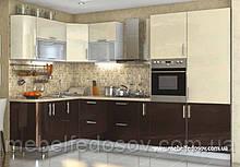 Кухня Hihg Gloss / Хьюго Глос (Меблі стар) ваніль+шоколад кутова М/П