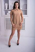 """Бежевое платье с воротником  """"Нежность"""", фото 1"""