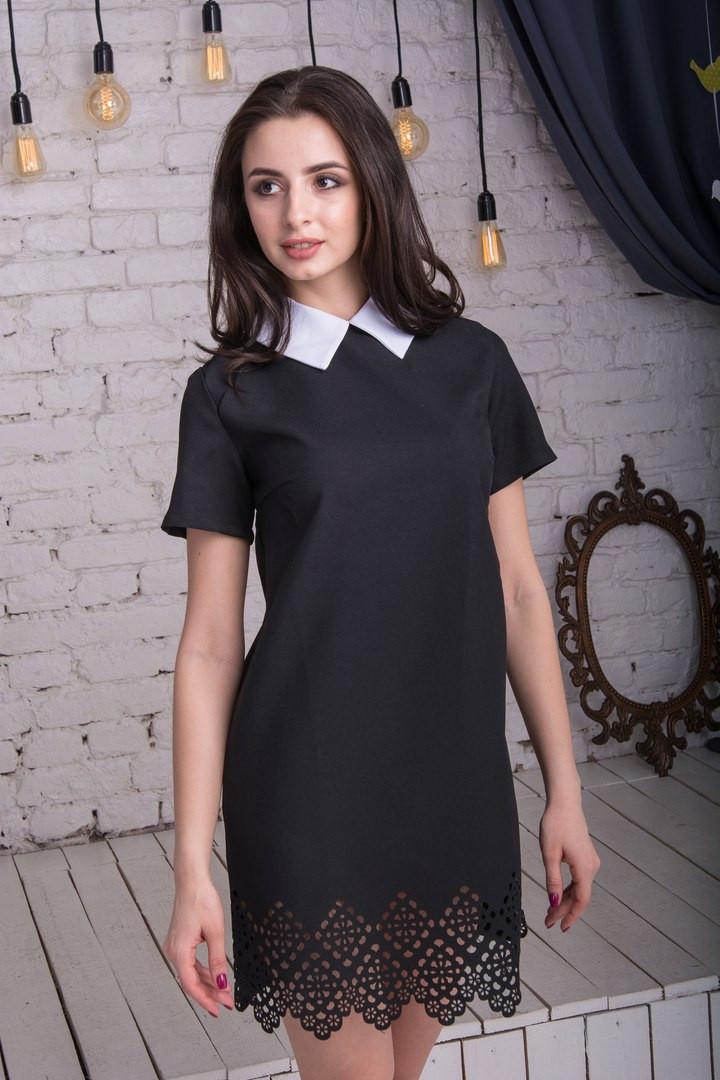 """Черное платье с белым воротником  """"Нежность"""""""
