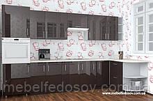 Кухня Hihg Gloss / Хьюго Глос (Меблі стар) шоколад кутова м/п