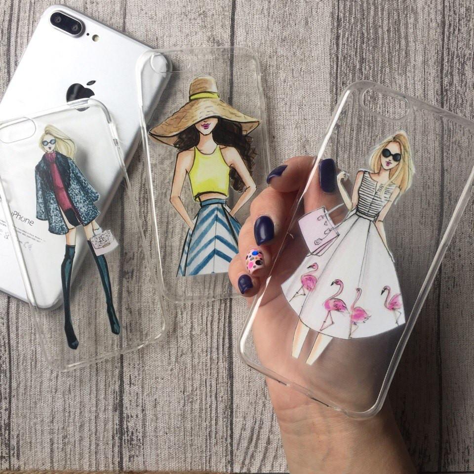 Силиконовые чехлы с принтом девушек для iPhone 4/4s