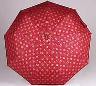 Женский брендовый складной зонт полный автомат Chanel бордовый