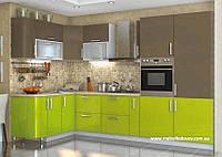 Кухня Hihg Gloss / Хьюго Глосс (Мебель стар) лайм+капучино угловая
