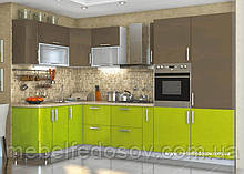 Кухня Hihg Gloss / Хьюго Глос (Меблі стар) лайм+капучіно кутова м/п