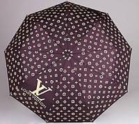 Женский брендовый складной зонт полный автомат Louis Vuitton цвета баклажан