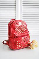 Женский городской рюкзак красного цвета 039