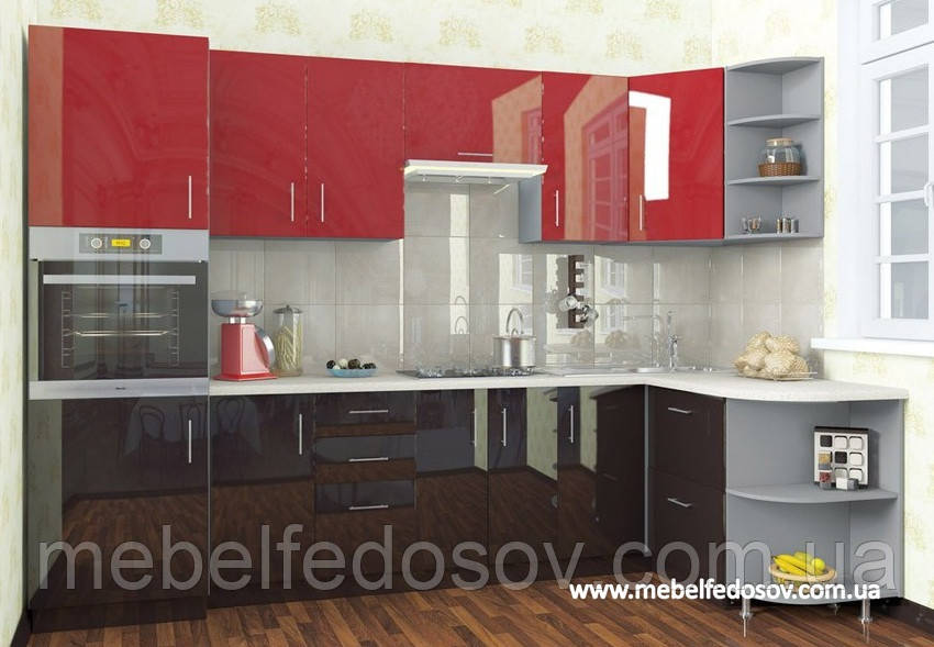 Кухня Hihg Gloss / Хьюго Глосс (Мебель стар) феррари+шоколад угловая