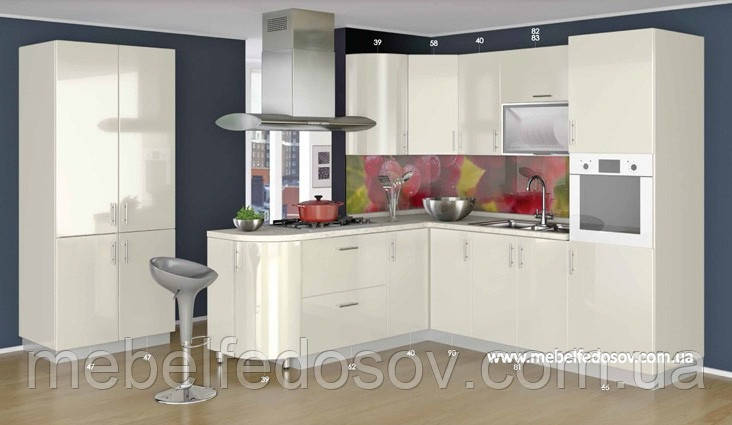 кухня Hihg Gloss хьюго глосс мебель стар ваниль с барной стойкой