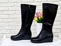 Женские сапожки из натуральной кожи черного цвета утолщенной танкетке, М-32 TM Gino Figini
