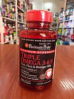 Омега 3   Puritan's Pride  Triple Omega 3-6-9 (Fish & Flax Oils) 60  softgels