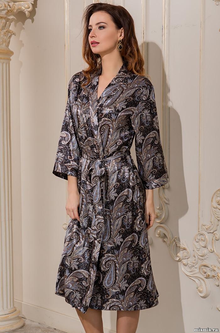 Длинный халат из натурального шелка 70%. Италия Mia-Mia Донателла 3129