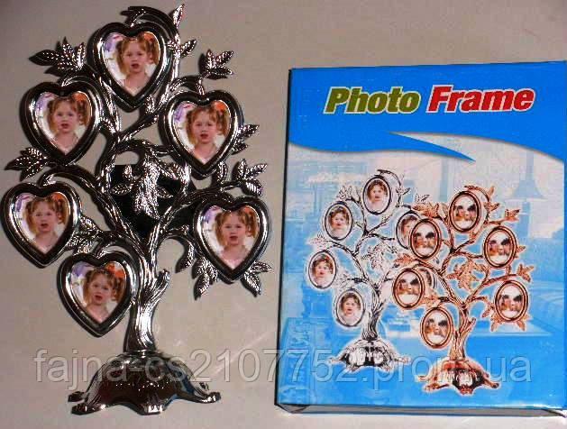Фоторамка дерево серце 6шт 3962AD
